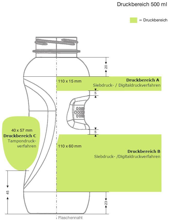 Druckbereich Kavodrink Trinkflasche 0,5 Liter m bedrucken