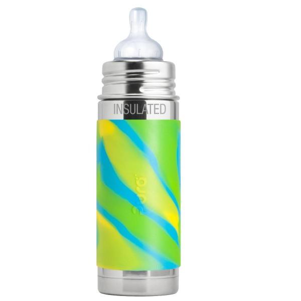 Purakiki Isolierflasche 250 ml mit Sauger aqua swirl