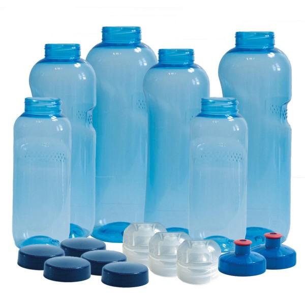 6 x Original Kavodrink Trinkflaschen (rund) aus TRITAN 100% ohne Weichmacher im Sparset: 2x 1 Liter, 2x 0,75 Liter , 2x 0,5 Liter + 5 Standarddeckel + 3 Sportdeckel + 2 Trinkdeckel