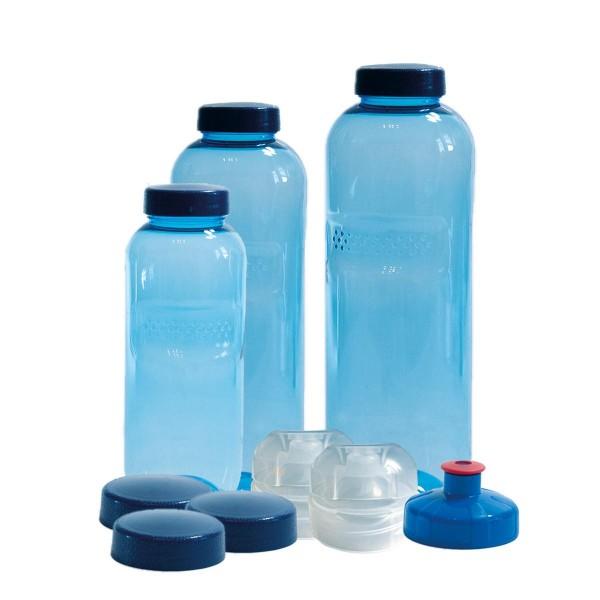 3 x Original Kavodrink TRITAN Trinkflaschen 100% ohne Weichmacher und Schadstoffe Set: 1x1 Liter (rund), 1x 0,75 Liter (rund), 1x0,5 Liter (rund) + 3 Standarddeckel + 2 Sportdeckel (FlipTop) + 1 Trinkdeckel (Push PULL)