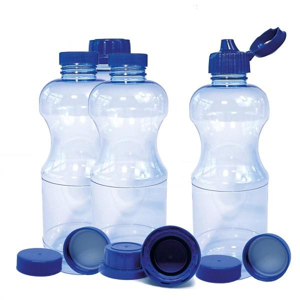 4 x 1,0 Liter (rund) RIVA TRITAN Trinkflaschen BPA frei mit div. Deckeln
