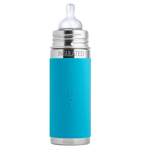 Purakiki Isolierflasche 250 ml mit Sauger aqua